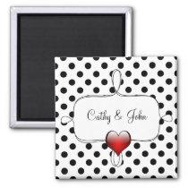 Black and White Polka Dots Wedding Magnet