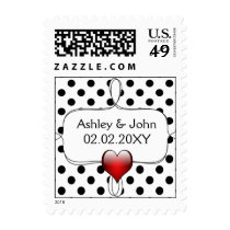 Black and White Polka Dots Wedding Postage