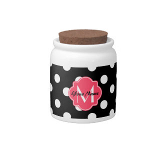 Black and White Polka Dots with Pink Monogram Candy Dishes
