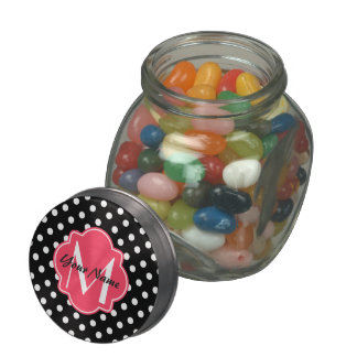 Black and White Polka Dots with Pink Monogram Jelly Belly Candy Jars