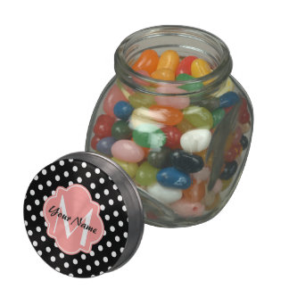 Black and White Polka Dots with Pink Monogram Glass Jars