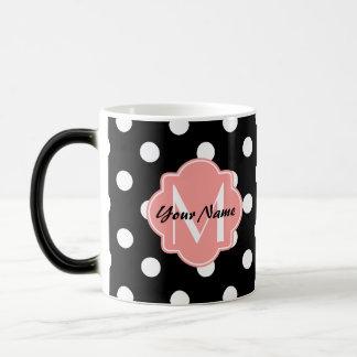 Black and White Polka Dots with Pink Monogram Magic Mug