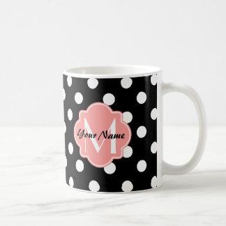 Black and White Polka Dots with Pink Monogram Basic White Mug