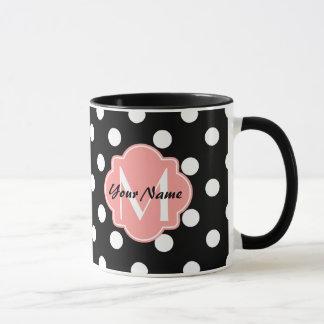Black and White Polka Dots with Pink Monogram Mug