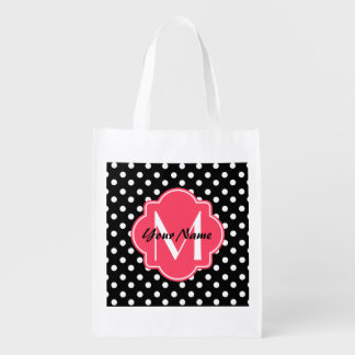 Black and White Polka Dots with Pink Monogram Reusable Grocery Bag
