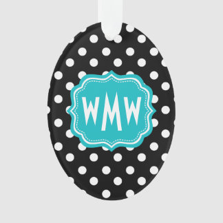Black and White Polka Dots with Teal Monogram