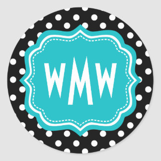 Black and White Polka Dots with Teal Monogram Classic Round Sticker