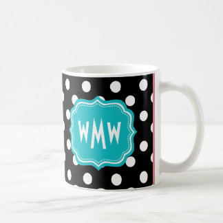 Black and White Polka Dots with Teal Monogram Coffee Mug