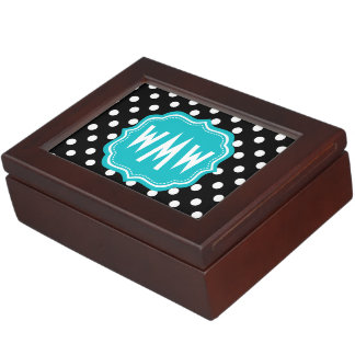 Black and White Polka Dots with Teal Monogram Memory Box