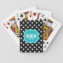 Black and White Polka Dots with Teal Monogram Playing Cards