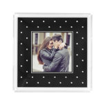 Black and White Polka Dots with your Photo Acrylic Tray