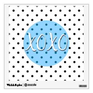 Black and White Polka Dots XOXO Hugs Kisses Wall Decal