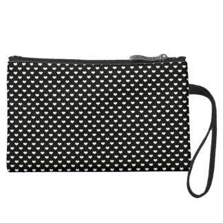 black and white polka hearts suede wristlet wallet