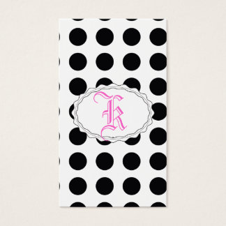 black and white polkadot dream business card