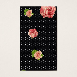 Black and White polkadot florals Business Card