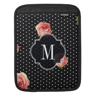 Black and White polkadot florals Sleeves For iPads
