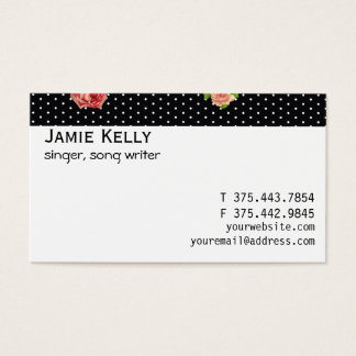 Black and White Polkadot Rose Pattern Business Card