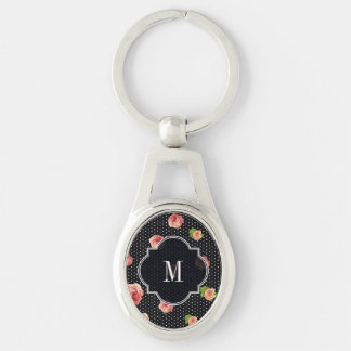 Black and White Polkadot Rose Pattern Keychain
