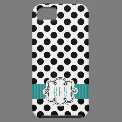 Black and White Polkadots with Teal Initials iPhone 5 Case