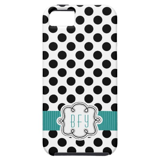 Black and White Polkadots with Teal Initials iPhone SE/5/5s Case