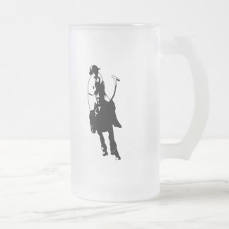 Black and White Polo Player Swinging Mallet Frosted Glass Beer Mug