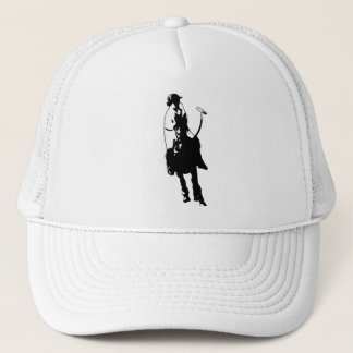 Black and White Polo Player Swinging Mallet Trucker Hat
