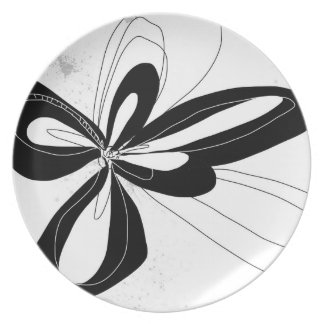 Black and white Pop Flower Plate