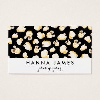 Black and White Popcorn Pattern Personalized Business Card
