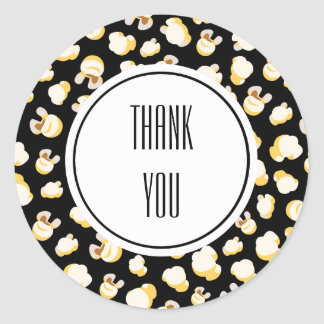 Black and White Popcorn Pattern Personalized Classic Round Sticker