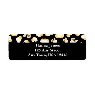 Black and White Popcorn Pattern Personalized Label