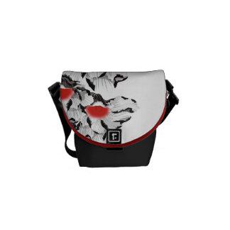 Black and White Poppies  Mini Zero Messenger Bag