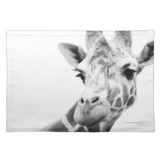 Black and white portrait of a giraffe cloth placemat