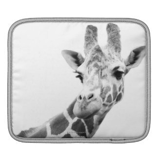 Black and white portrait of a giraffe sleeve for iPads