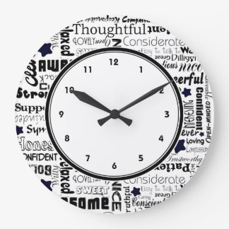 Black and white Positive words typography clock
