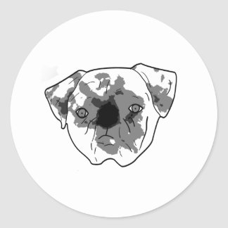 Black and white posterized pug round sticker