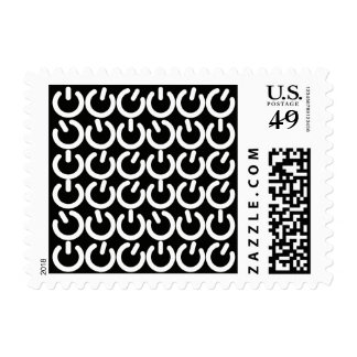 Black and White Power Grid Postage Stamps