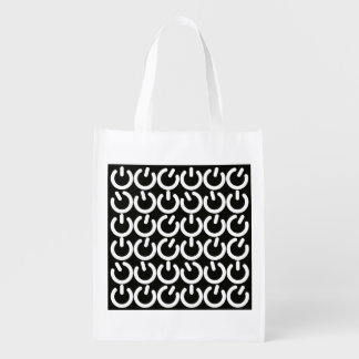 Black and White Power Grid Reusable Grocery Bag