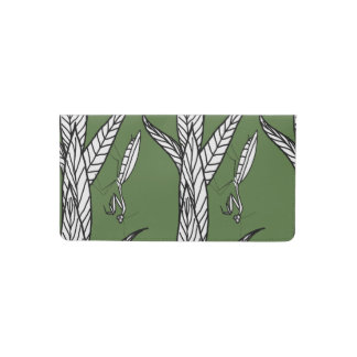 Black And White Praying Mantis On Leaves On Green Checkbook Cover