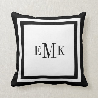 Black and White Preppy Ribbon Dots Custom Monogram Pillows