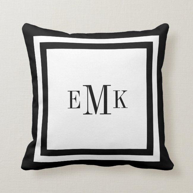 Black and White Preppy Ribbon Dots Custom Monogram Throw Pillow