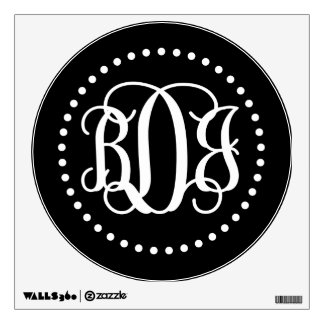 Black and White Preppy Script Monogram BDJ Wall Sticker