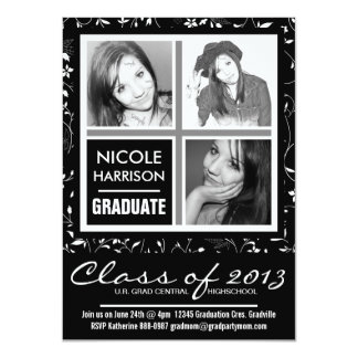 Black and White Pretty Floral 3 Photo Grad Party Card