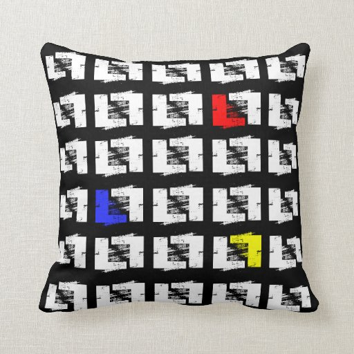 Black and White Primary Colors Geo Sketch Squares Pillow Zazzle