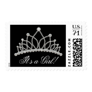 Black and White Princess Baby Shower Postage