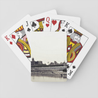 Black and white print of cityscape deck of cards