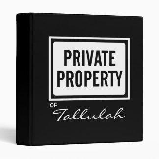 Black and White Private Property Custom Binder