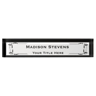 Black and White Professional Desk Nameplate