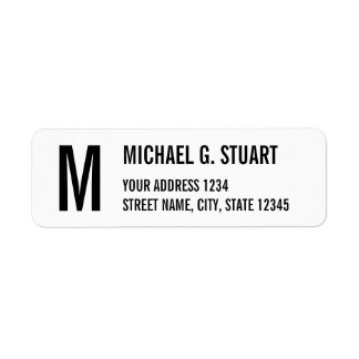 Black and White Professional Monogram Bold Text Label