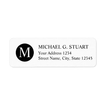Professional Business Black and White Professional Monogram Label