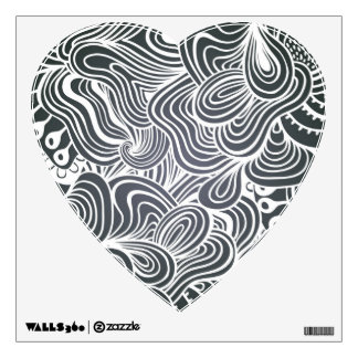 Black and White Psychedelic Floral Pattern Wall Decal